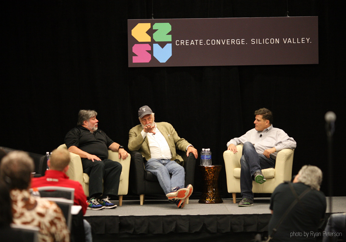 from left, Steve Wozniak, Nolan Bushnell and C2SV's Creator-in-chief Dan Palcrano