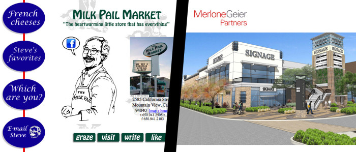 Locally owned Milk Pail Market on the left, and Merlone Geier Partners on the right. Merlone Geier Partners has more than $900 million in capital commitments.